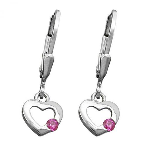 Brisur, Herz Zirkonia pink, Silber 925