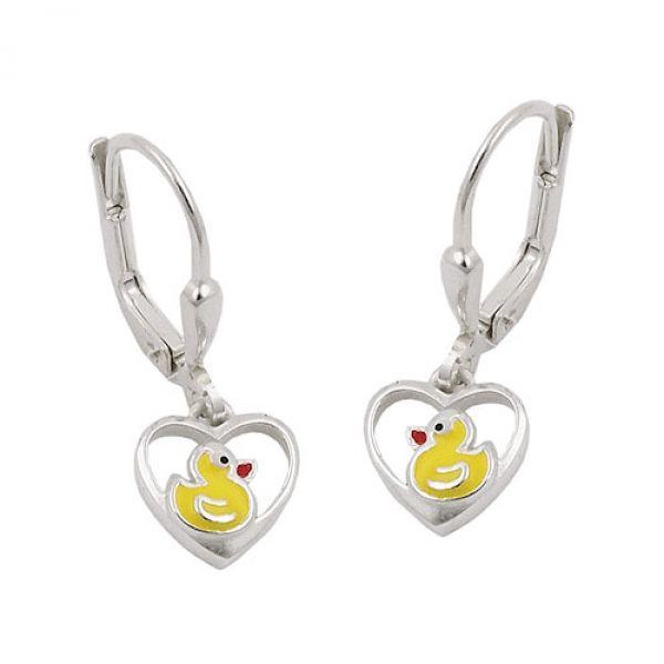 Brisur, kleine Ente im Herz, Silber 925