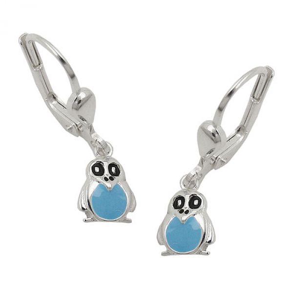 Brisur, Pinguin blau, Silber 925