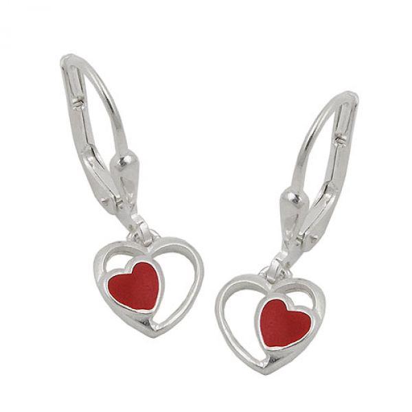 Brisur, rotes Herz im Herz, Silber 925