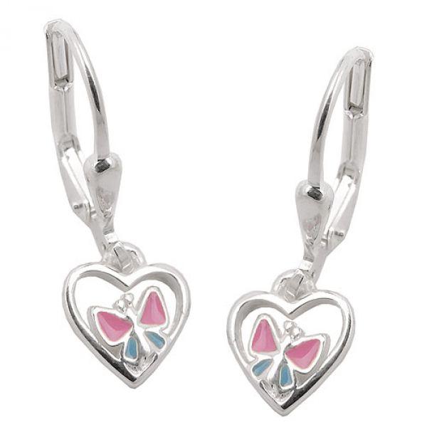 Brisur Schmetterling im Herz, Silber 925