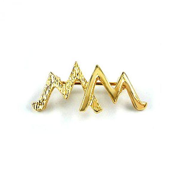 Brosche, doppel-M, vergoldet