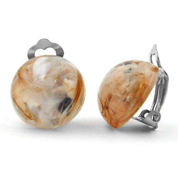 Clip, 18mm braun-weiß-transparent-marmor