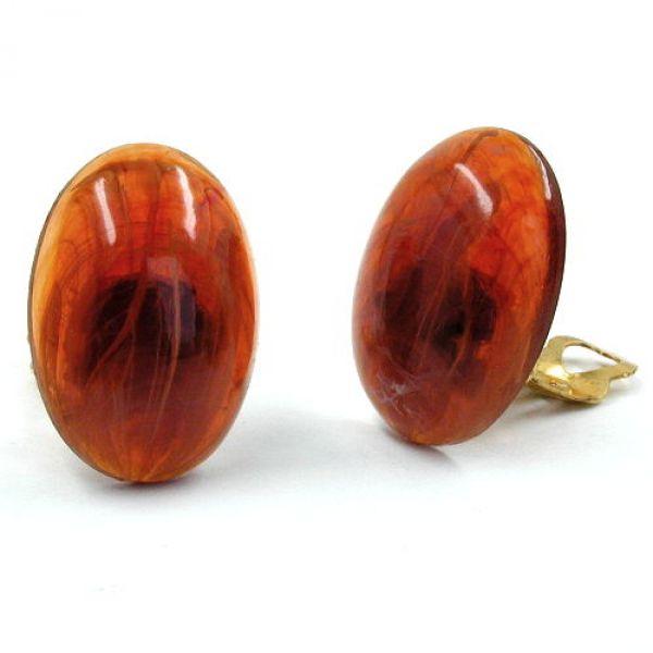 Clip, oval, 25, rotbraun-marm