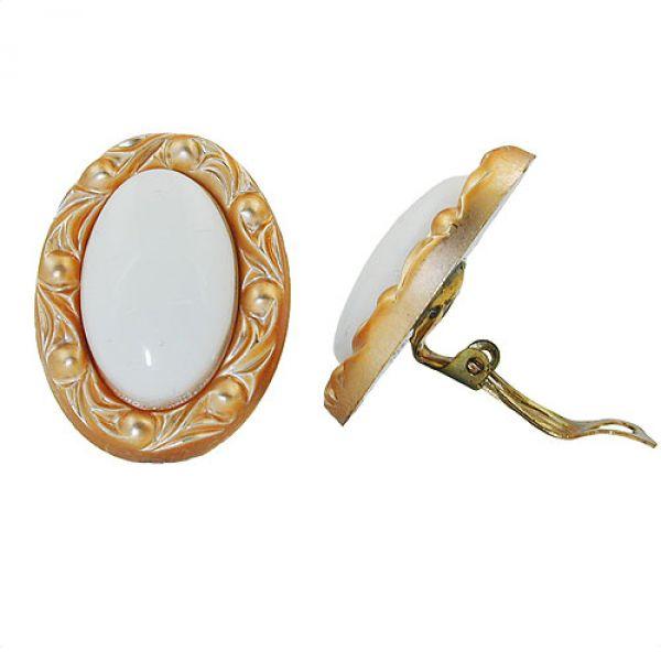 Clip, oval, weiß mit Rahmen goldfarbig
