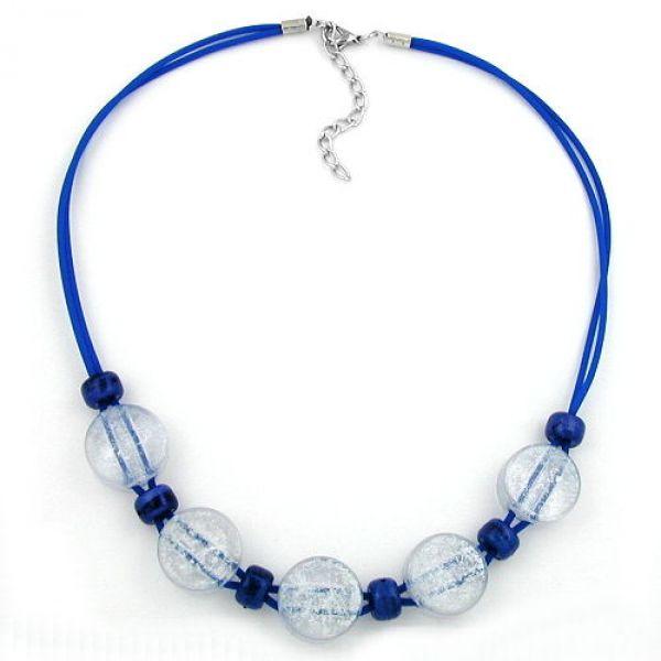 Collier, 2-Loch eisblau, dunkelblau 48cm