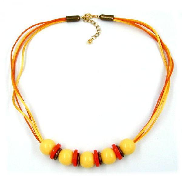 Collier, 5x Perle gelb orange altmessing 50cm