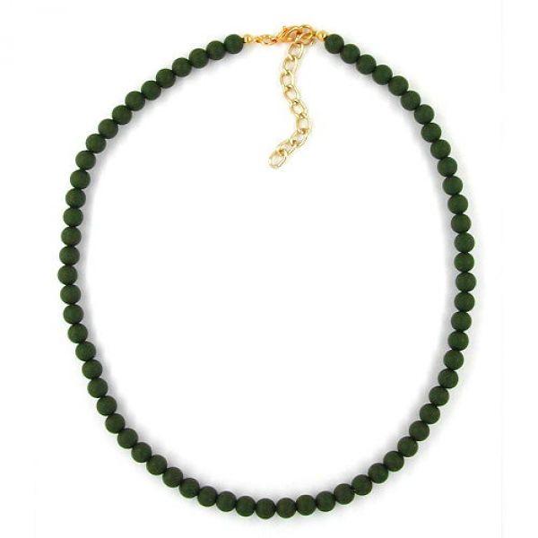 Collier, 6mm Perlen, olivmatt 40cm