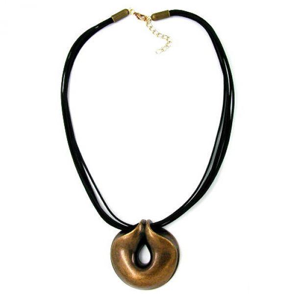 Collier, Amulett altmessing, Kordel 50cm
