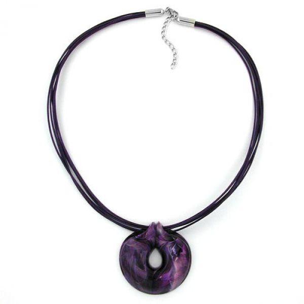 Collier, Amulett lila-marmoriert 55cm