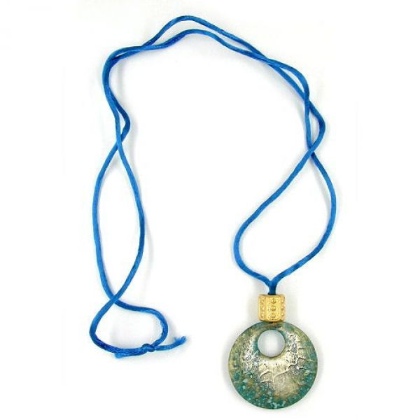 Collier, Anhänger kroko türkis-gold 90cm