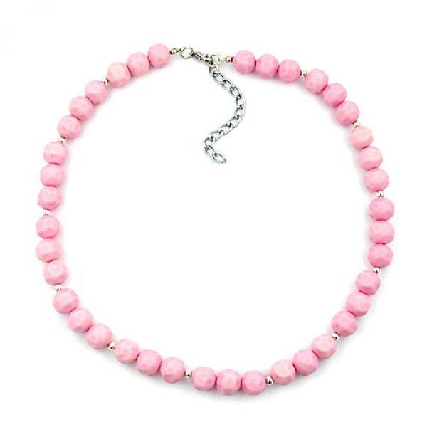 Collier, Barockperle rosa, silberfarbig 42cm