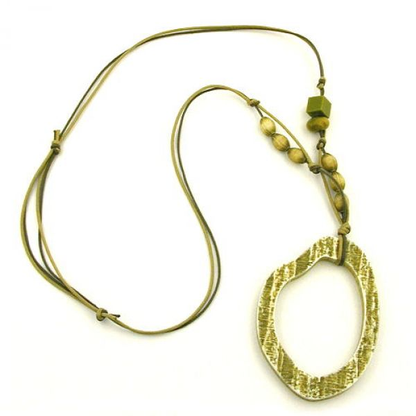 Collier, Baumring oliv-hell 95cm