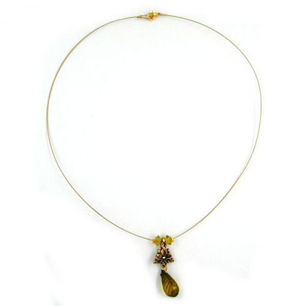 Collier, Birne oliv, altgold, Draht 44cm