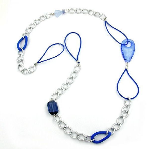 Collier, blau-silber-kristall 100cm