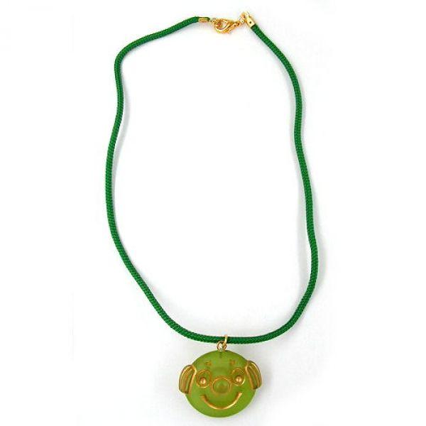 Collier, Clown, grün-matt, Kordel grün 40cm
