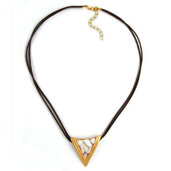 Collier, Dreieck gold, Perlmutt weiß 45cm