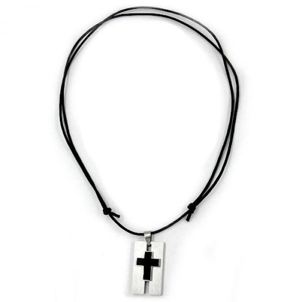 Collier, Edelstahl, Kreuz schwarz 100cm