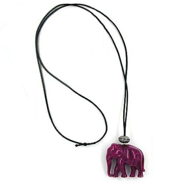 Collier, Elefant, lila, altsilber 90cm