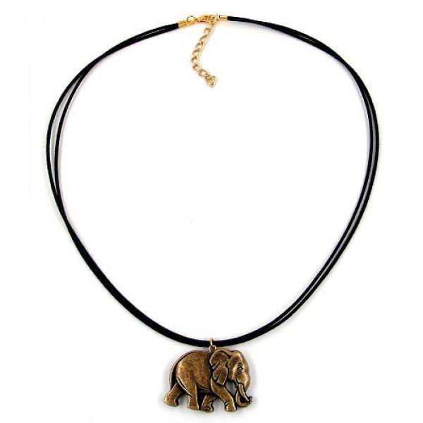 Collier, Elefant altmessing schwarz-gold 50cm
