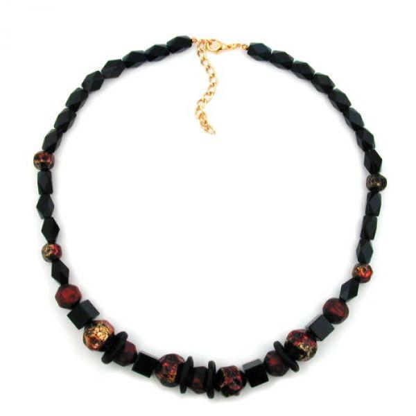Collier, Facettenperle schwarz, rot-lack 50cm