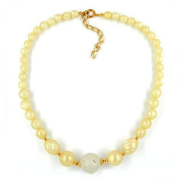 Collier, gelbton-gold, Perle kristal 42cm