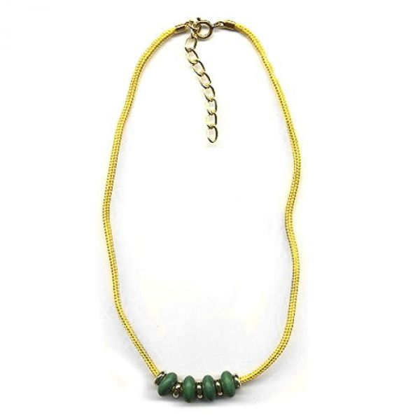 Collier, Holzperle grün, Kordel gelb 42cm