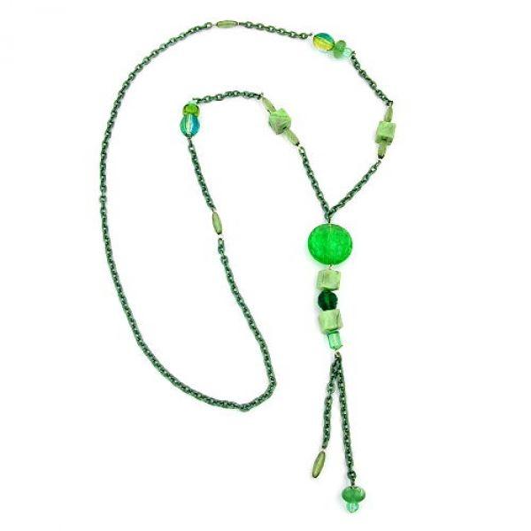 Collier, Krokoperle grün Ankerkette grün 90cm