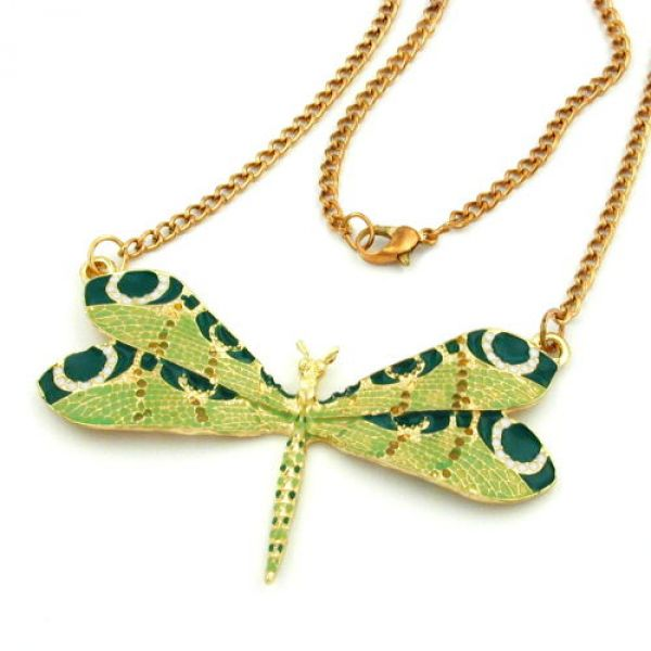 Collier, Libelle, grünton, goldfarben 80cm