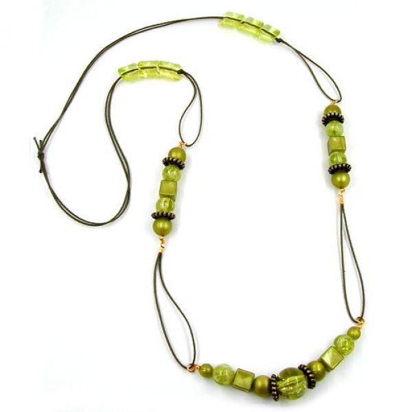 Collier, oliv-seide, oliv-transparent 100cm