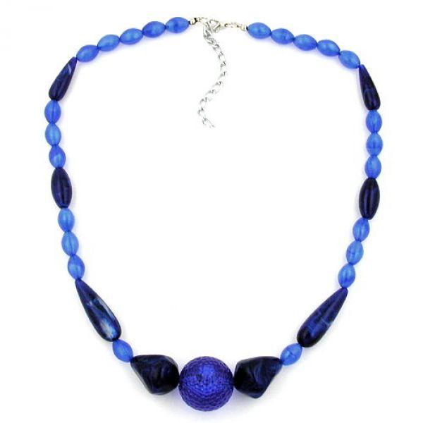Collier, Perle blau-seidig, dunkelblau 48cm