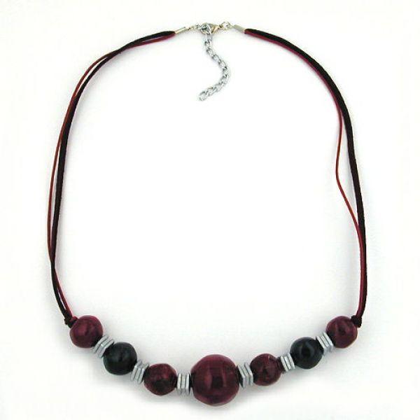 Collier, Perle fuchsia-bordeaux-schwarz 54cm