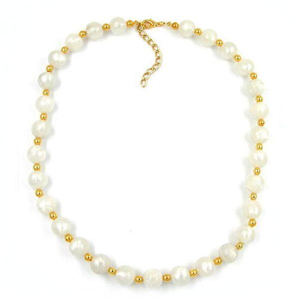 Collier, Perle seide-weiß, Perle gold 50cm