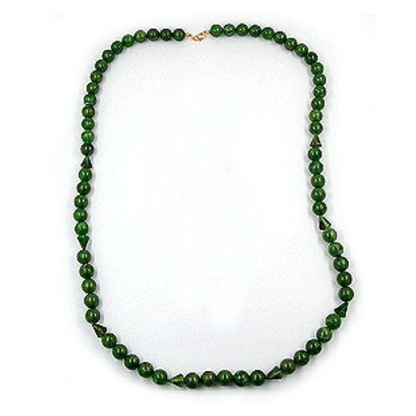 Collier, Perlen 12mm grün-gold-marmor 90cm