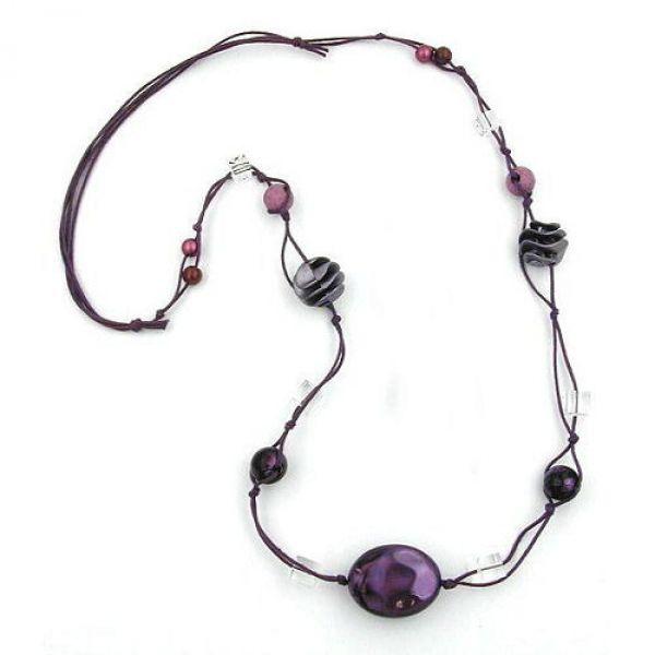 Collier, Perlen lila-seide transparent 100cm