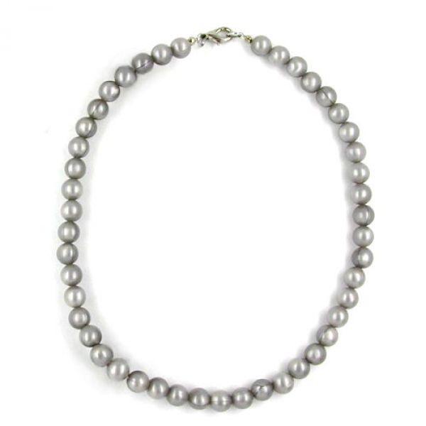 Collier, Perlen Seide grau 38cm