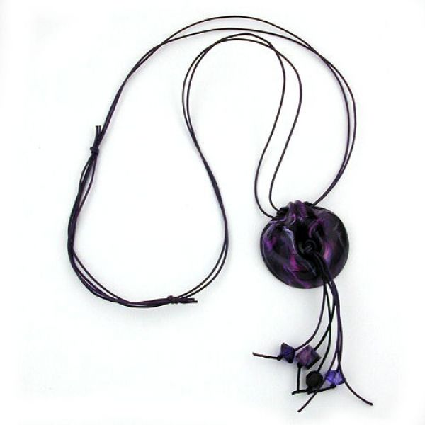 Collier, Ring, lila-flieder-glänzend 100cm