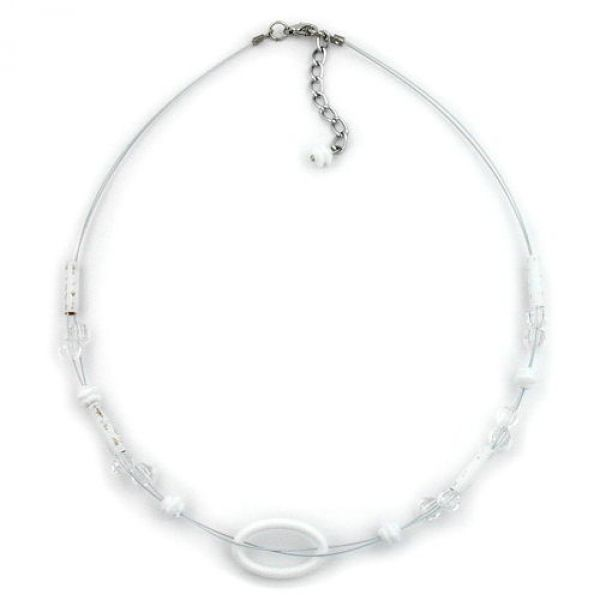 Collier, Ring oval weiß, transparent 42cm