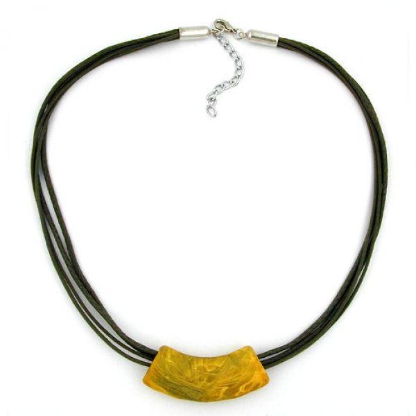 Collier, Rohr flach-gebogen, gelb-oliv 50cm