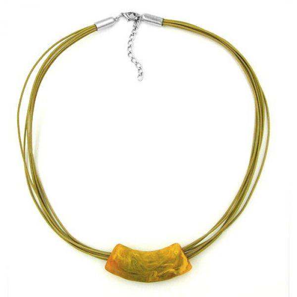 Collier, Rohr flach-gebogen, oliv-gelb 50cm
