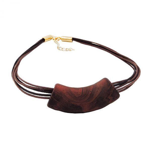 Collier, Rohr flach-gebogen braun-metal 45cm