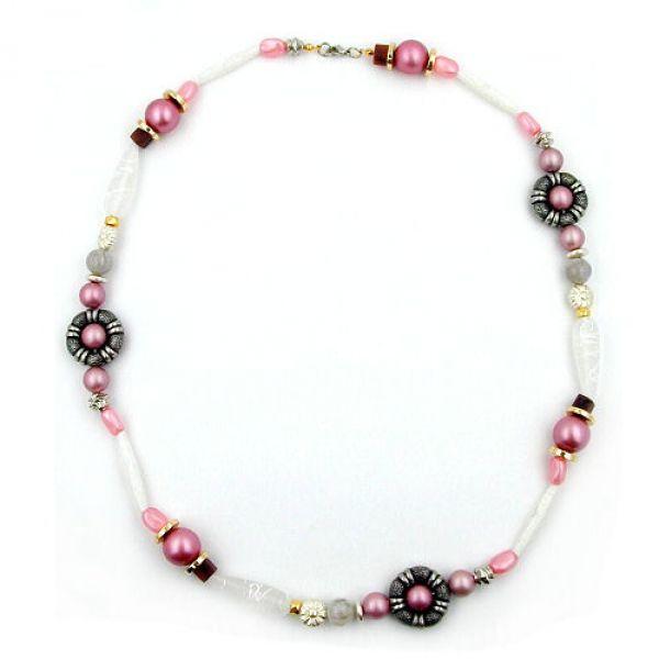 Collier, rosa-weiß-altsilber-gold 60cm