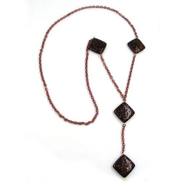 Collier, schwarz-kupferton, Ankerkette 100cm