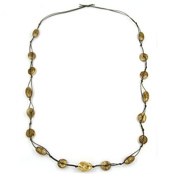 Collier, seide-oliv, Barockperle altgold 100cm