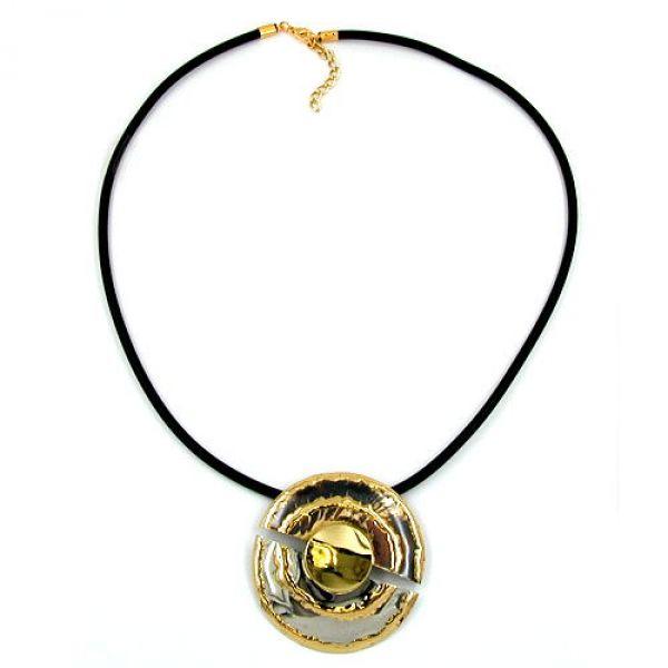 Collier, silber-braun-bicolor, Gummi 60cm
