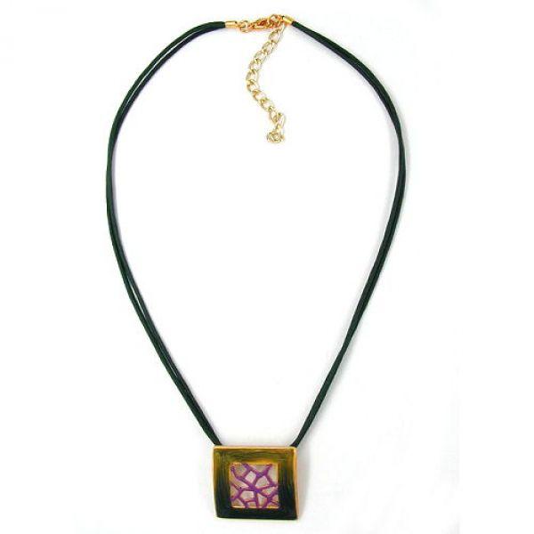Collier, Viereck, grün-lila-gold, Email 42cm