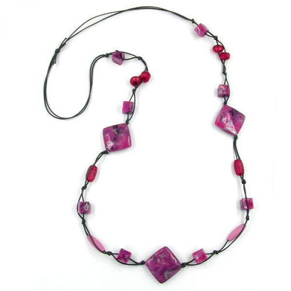 Collier, Viereck pink-grau, Kordel grau 100cm