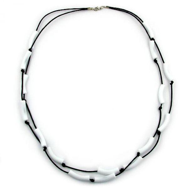 Collier, Walze weiß-matt, Kordel schwarz 70cm