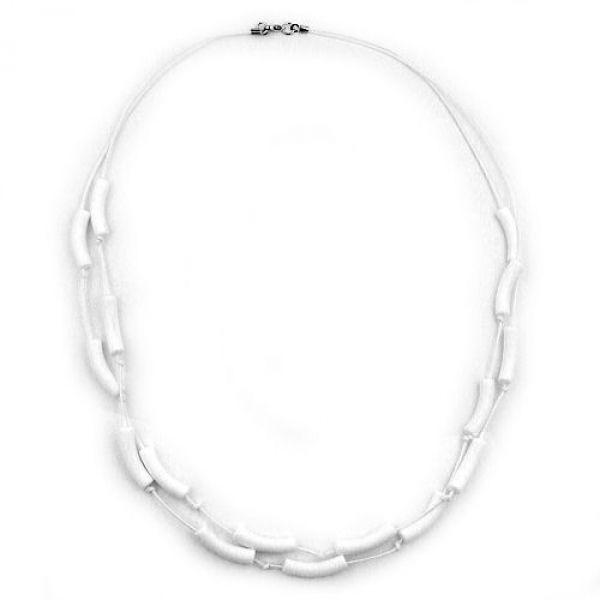Collier, Walze weiß-matt, Kordel weiß 70cm
