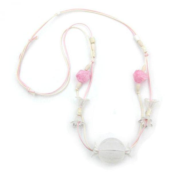 Collier, weiß-rosa, Blütenkelch 90cm